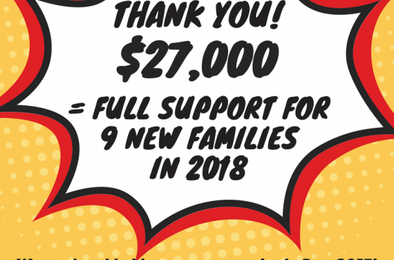 Year End Campaign Raises Money for 9 More Families